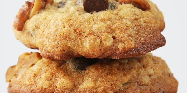 banana choc-nut cookies